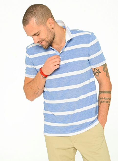 People By Fabrika Polo Yaka T-Shirt Mavi